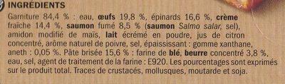 Tarte saumon fumé et épinards Hot & Good - Ingrédients - fr