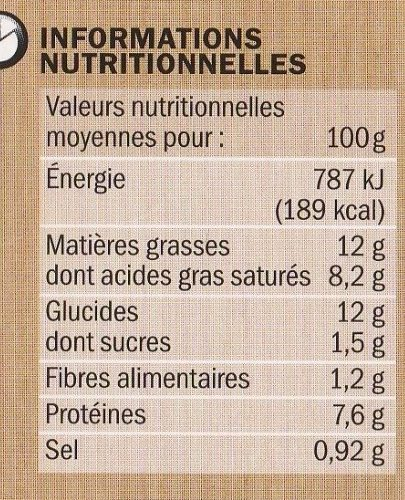Tarte saumon fumé et épinards Hot & Good - Informations nutritionnelles - fr