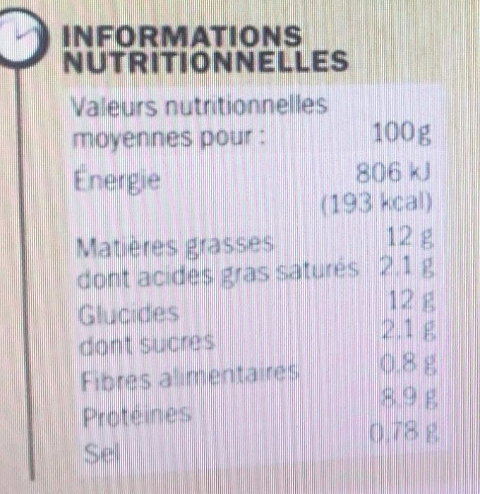 Tarte Chèvre Tomates - Nutrition facts