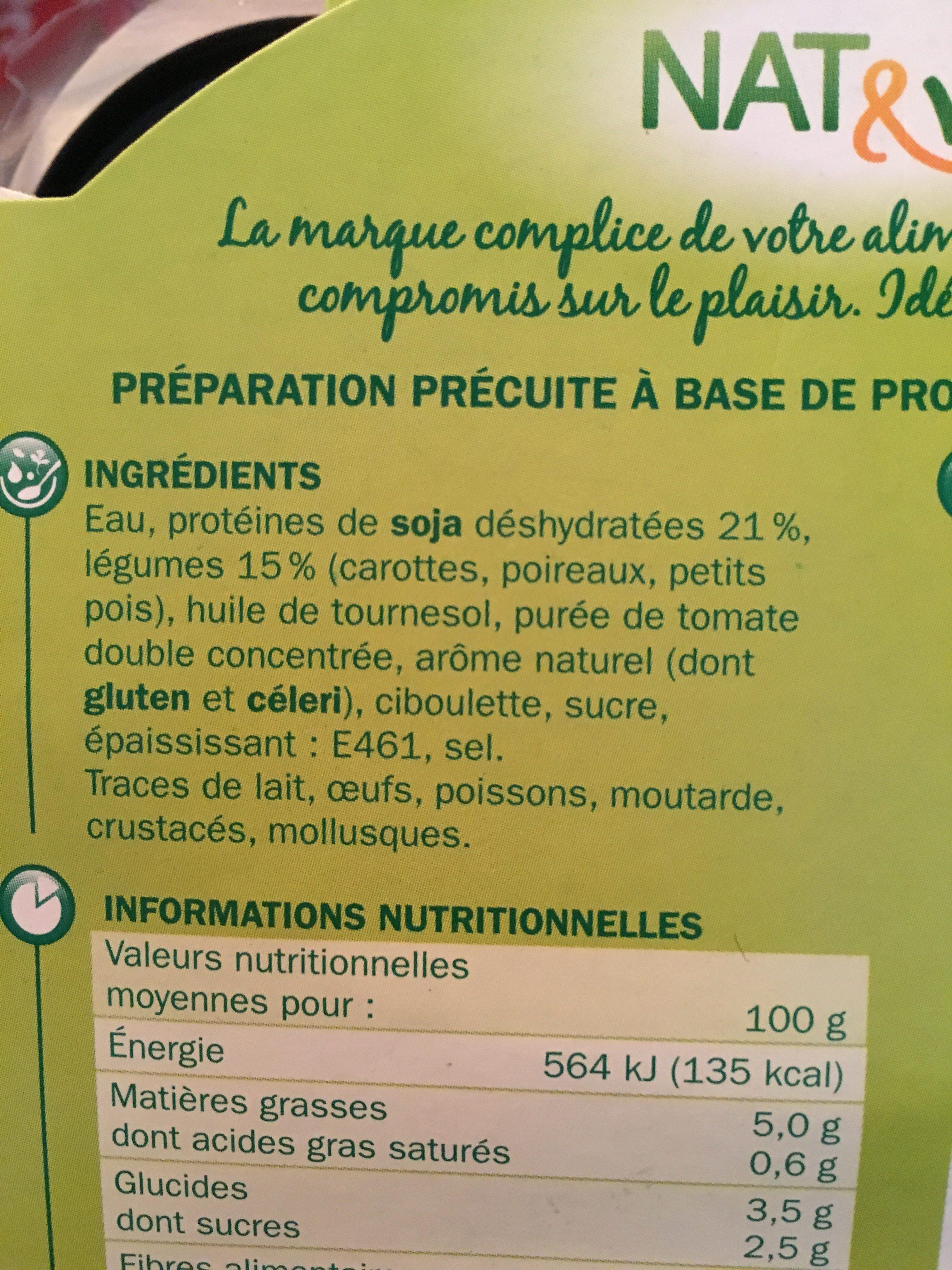 Steaks végétarien soja aux petits légumes - Ingrédients - fr
