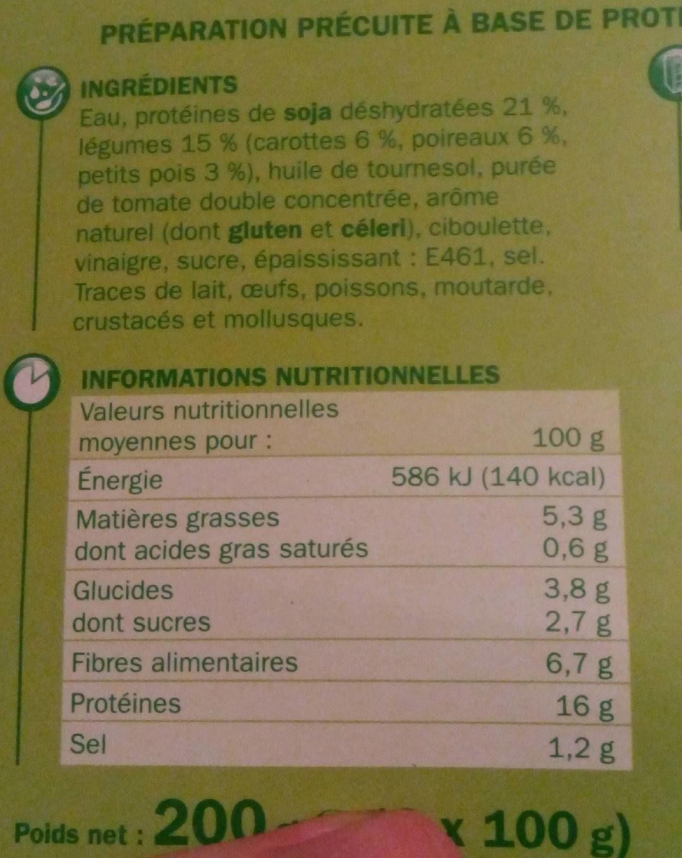 Steaks végétarien soja aux petits légumes - Informations nutritionnelles - fr