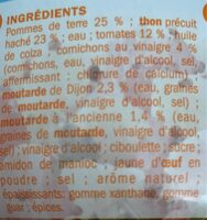 Salade piémontaise au thon - Ingrédients - fr