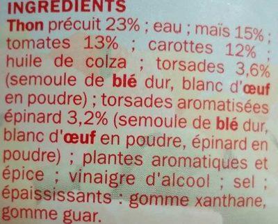 Salade italienne au thon 250g bol - Ingrédients - fr