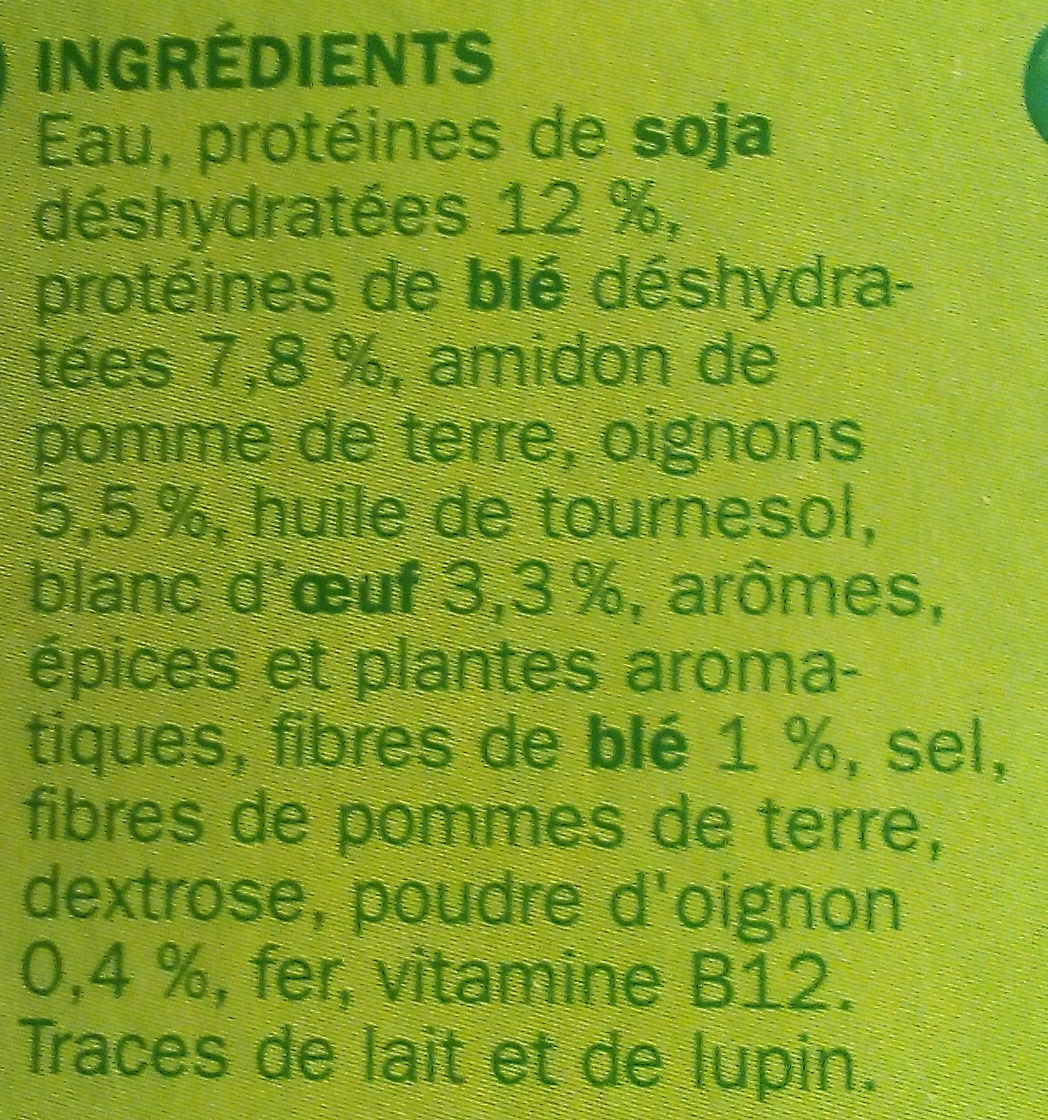 Boulettes végétariennes - Ingrédients - fr