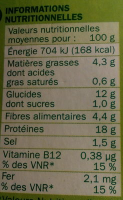 12 Boulettes Végétariennes - Nährwertangaben