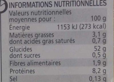Tagliatelles sans gluten - Informations nutritionnelles