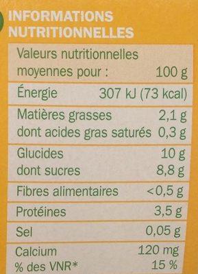 Spécialité au soja au sucre de canne - Voedingswaarden - fr