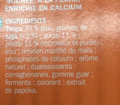 Spécialité au soja pêche - Ingrédients - fr