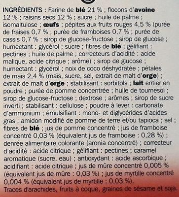 Barres céréales moelleuses fruits rouges x 6 - Ingrédients