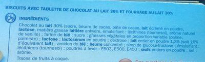 Barre chocolat fourrée au lait x 5 - Ingrédients - fr