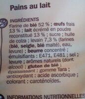 Pains au lait x 20 - format familial - Ingrédients