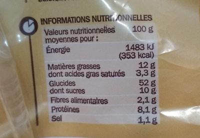 Pains au lait x 20 - format familial - Informations nutritionnelles