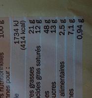 Pains au chocolat x 12 - format familial - Voedingswaarden - fr