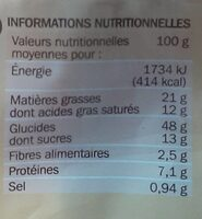 Pains au chocolat x 12 - format familial - Nutrition facts - fr