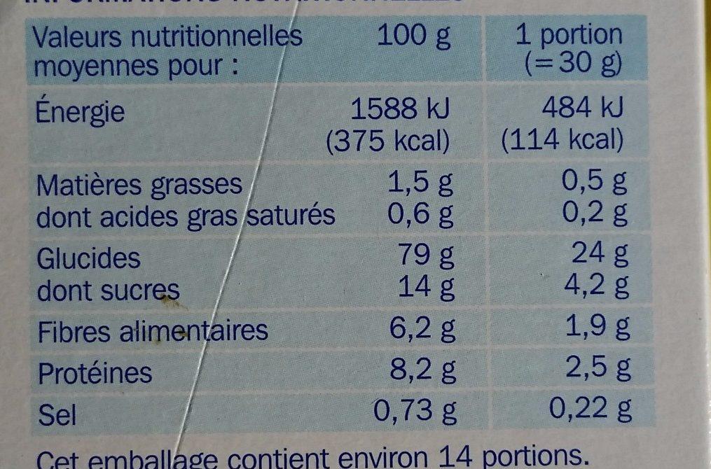 Form' flakes nature - Informations nutritionnelles - fr