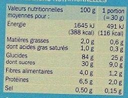 Riz soufflé au chocolat - Informations nutritionnelles - fr