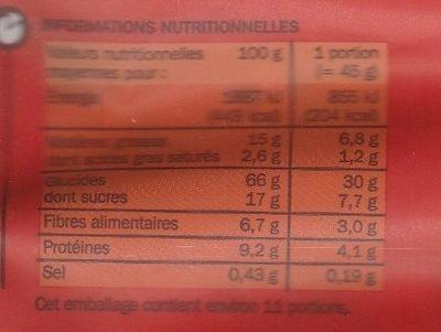Muesli croustillant aux fraises - Informations nutritionnelles