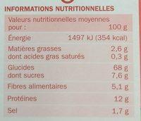 Céréales provençales (blé, épeautre, seigle et orge) x 2 sachets - Informations nutritionnelles - fr