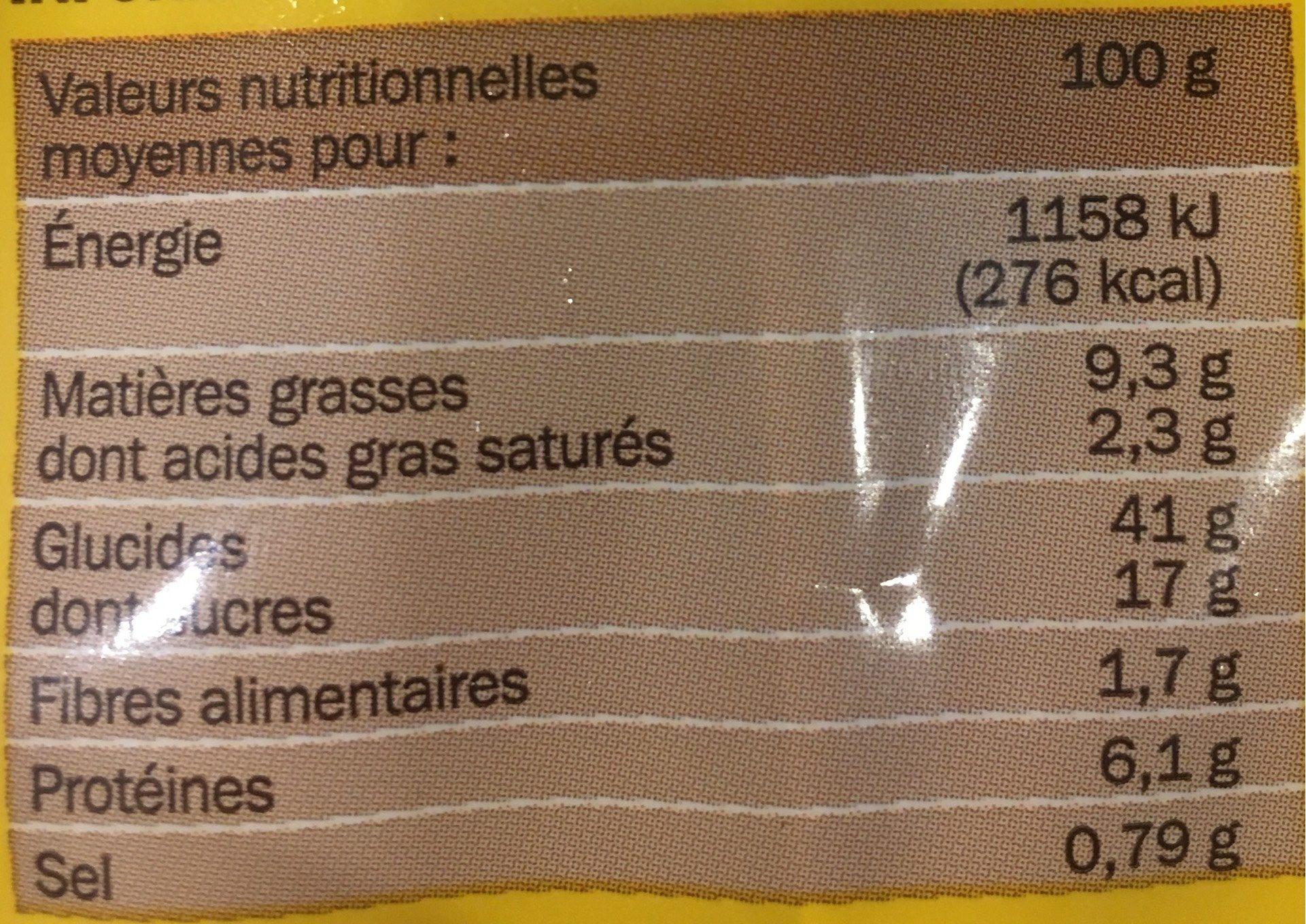Pancakes sucrés surgelés x 6 - Informations nutritionnelles - fr