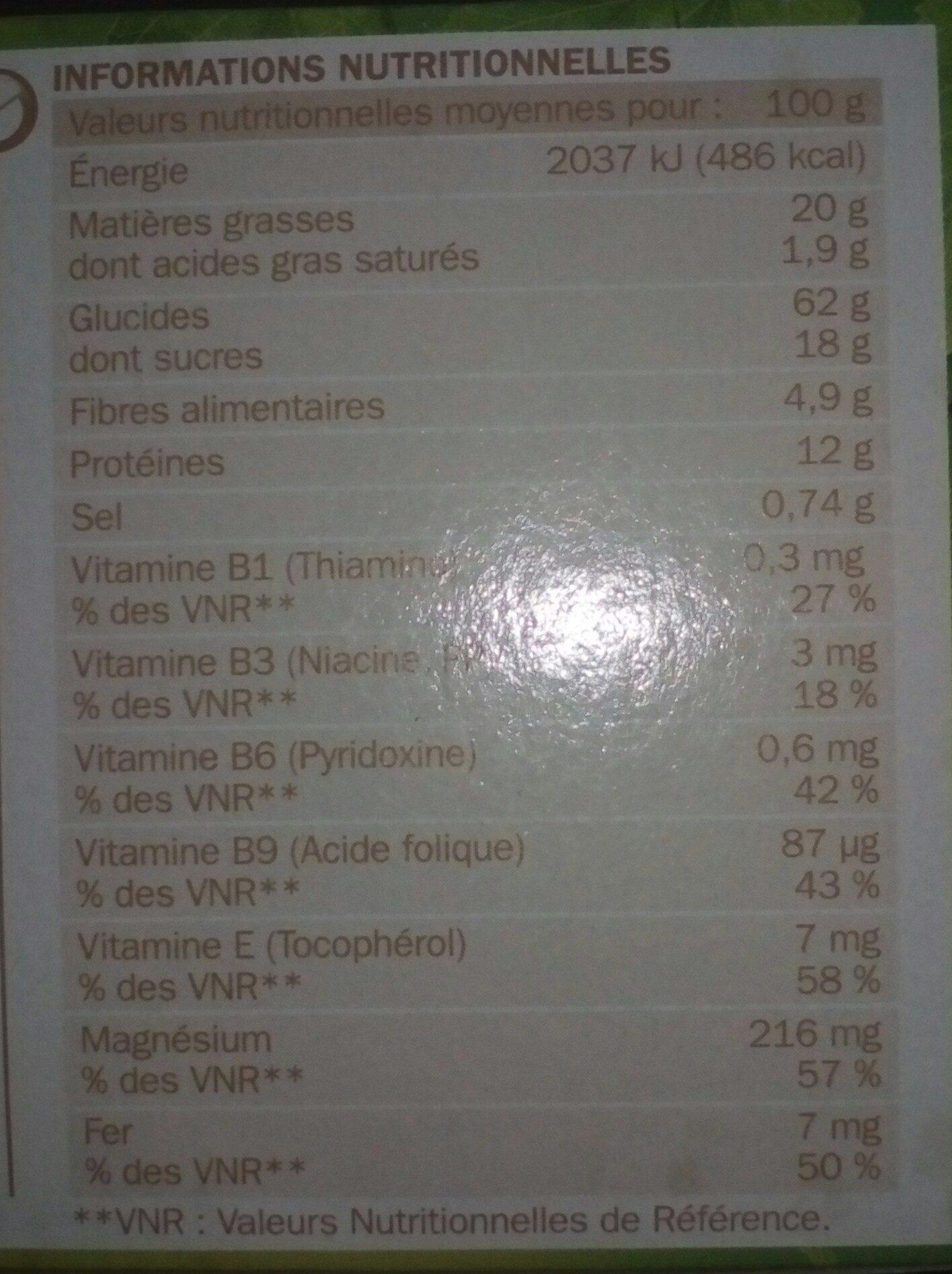 Biscuits aux germes de blé et sésame - Nutrition facts