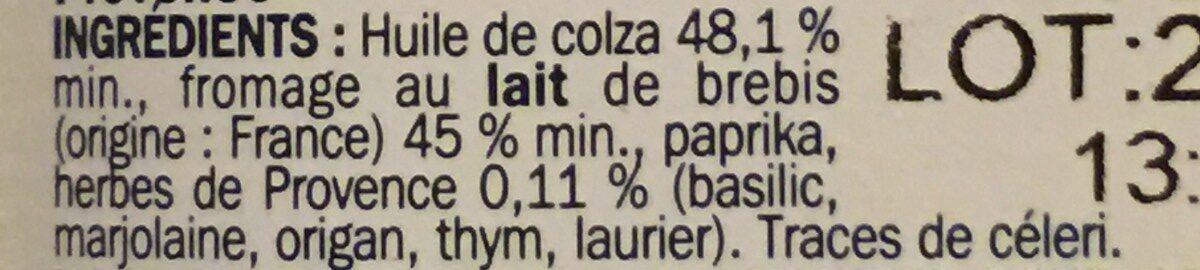 Dés de brebis à l'huile et herbes de Provence - bocal - Ingrédients - fr