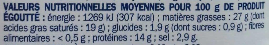 Dés de brebis à l'huile et herbes de Provence - bocal - Informations nutritionnelles - fr