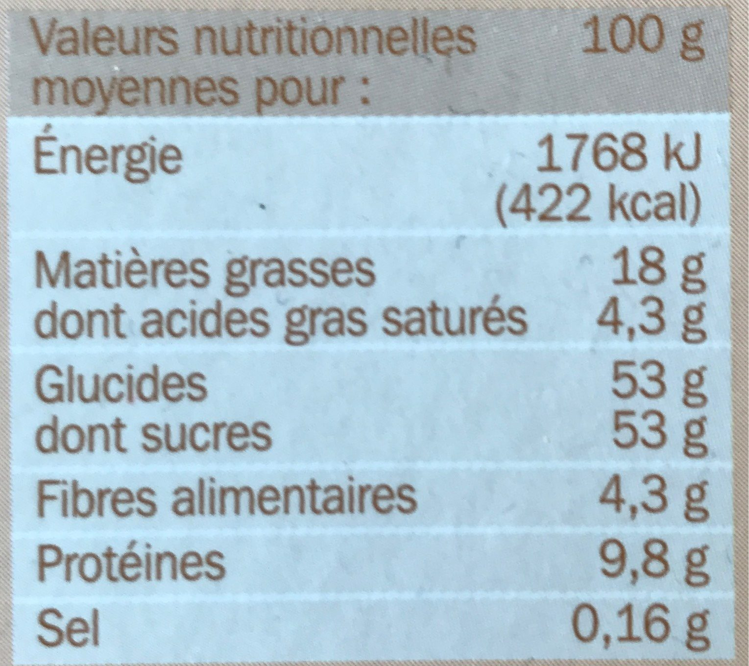 Assortiment de macarons x 12 - Voedingswaarden - fr