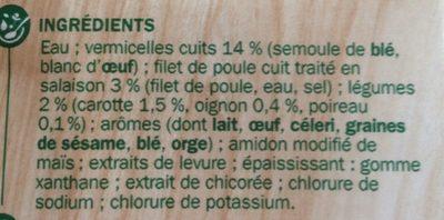 Soupe poule au pot aux vermicelles et à la volaille - Ingrédients - fr