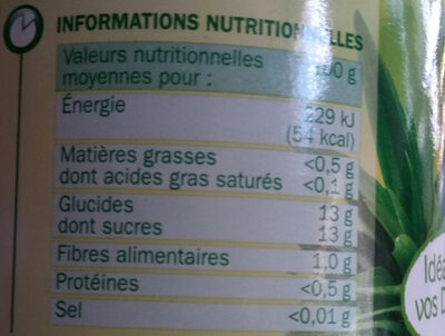 Ananas tranches brisées jus naturel - Informations nutritionnelles - fr