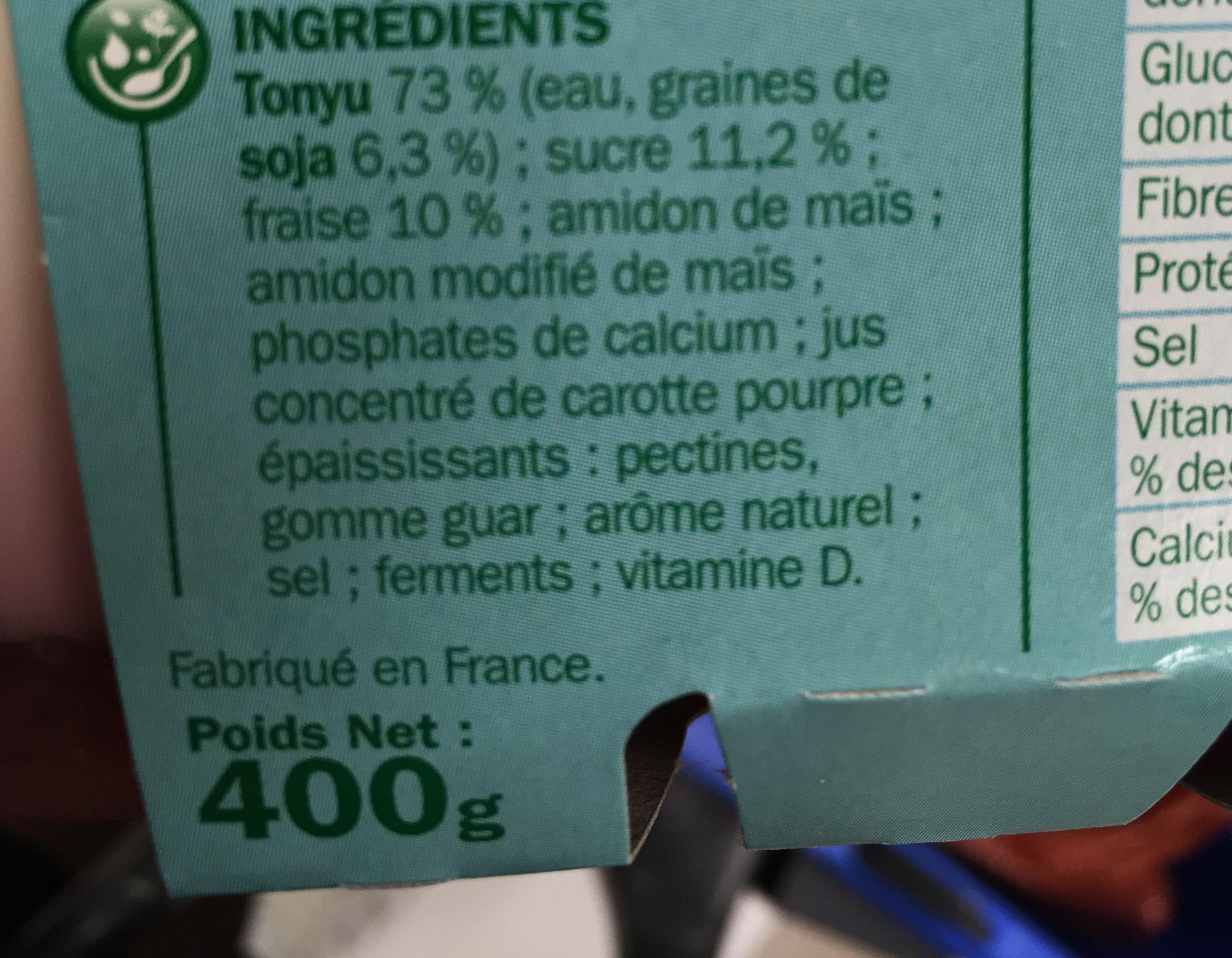 Spécialité au soja sur lit de fraises - Ingredients