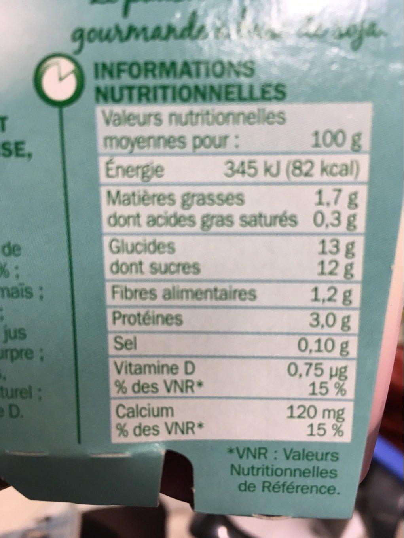 Spécialité au soja sur lit de fraises - Nutrition facts