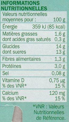 Spécialité au soja sur lit de pêches - Informations nutritionnelles