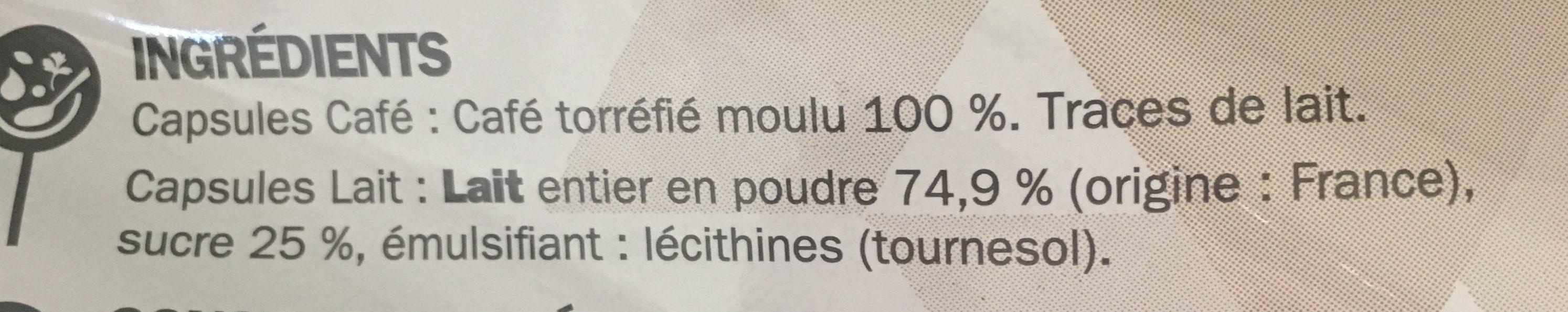 8 capsules cappucino - Ingrédients - fr