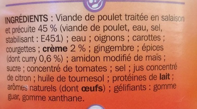 Poulet façon curry - Ingrédients - fr