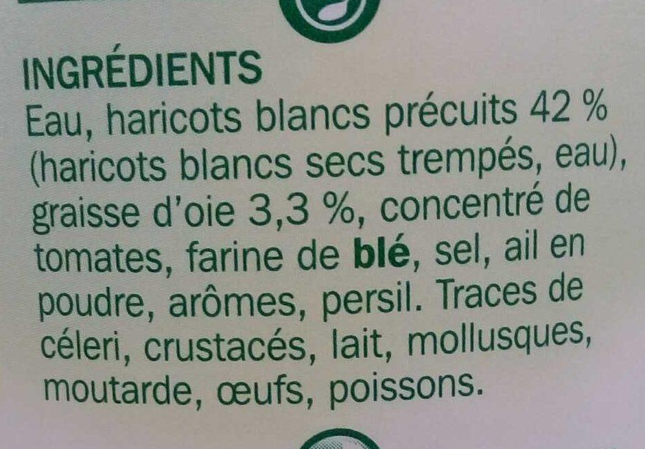 Haricots blancs cuisinés à la graisse d'oie - Ingredients