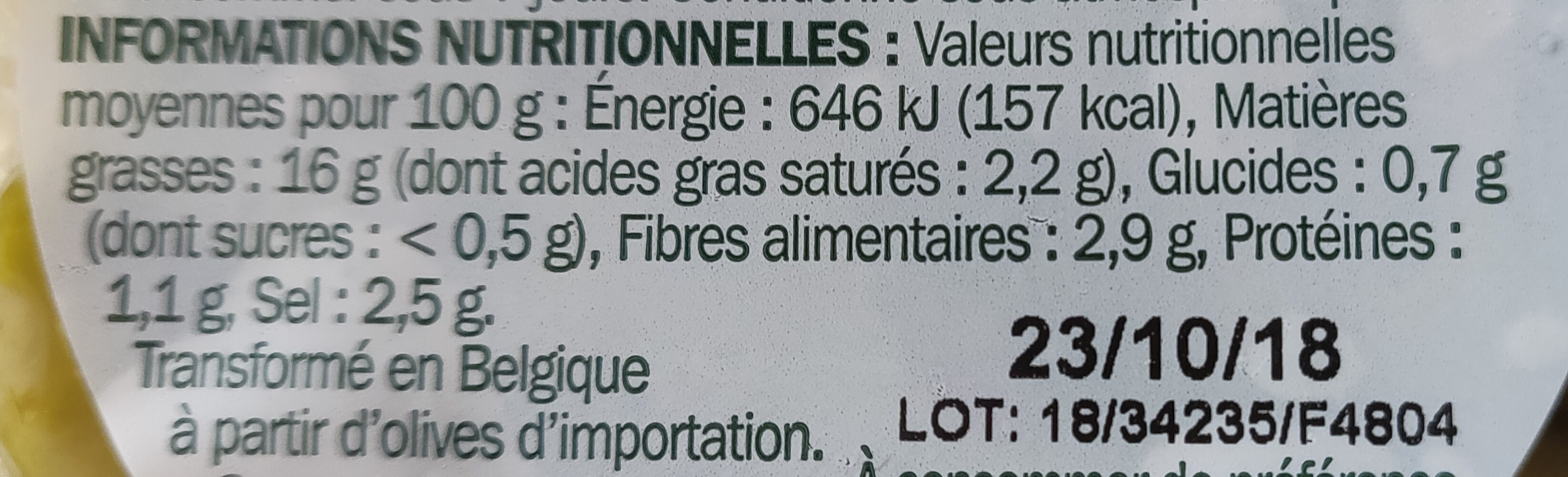 Olives à l'orientale dénoyautées - Nutrition facts - fr
