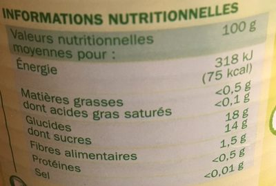 Poires williams demi-fruits au sirop - Informations nutritionnelles