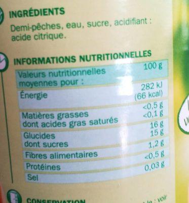 Pêches demi-fruits au sirop - Informations nutritionnelles - fr