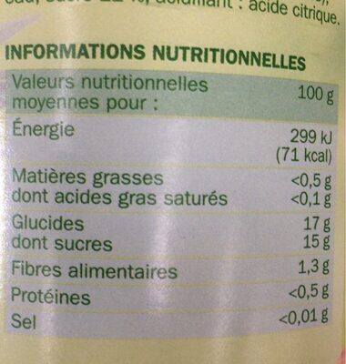 Cocktail de fruits au sirop - Valori nutrizionali - fr