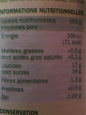 Cocktail de Fruits au Sirop - Informations nutritionnelles - fr
