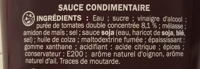 Sauce barbecue - flacon - Ingrédients