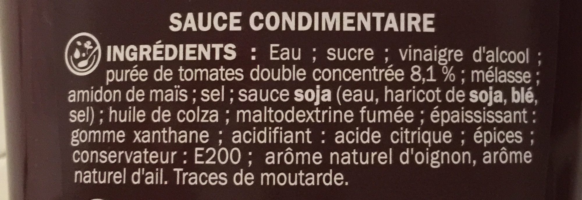 Sauce barbecue - flacon - Ingrédients - fr