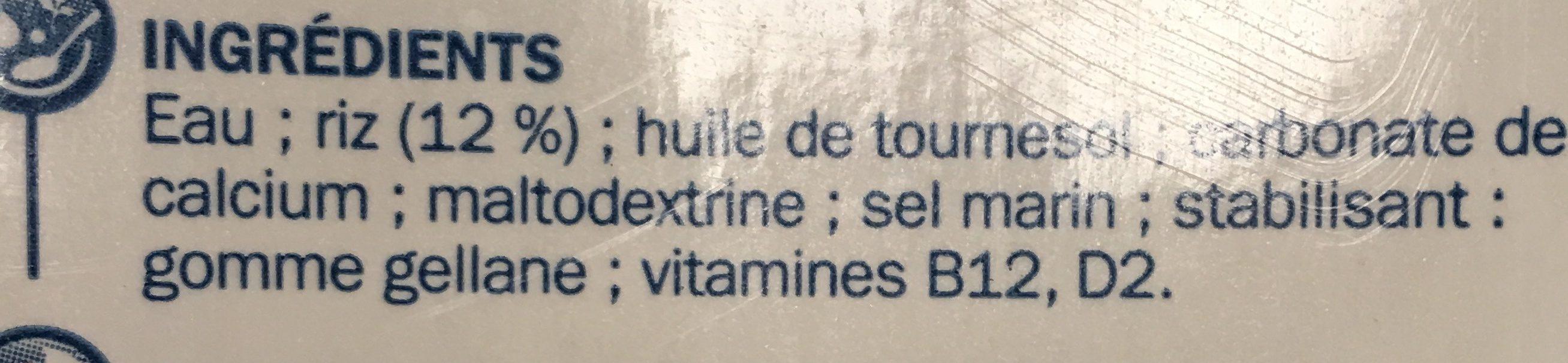 Boisson au riz - Ingrédients - fr