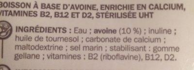 Boisson à l'avoine - Ingrédients - fr