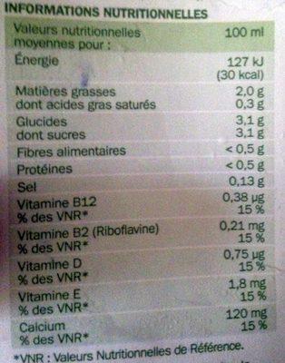 Boisson à la noisette - Informations nutritionnelles - fr