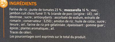 Pizza jambon fromage sans gluten - Ingrédients