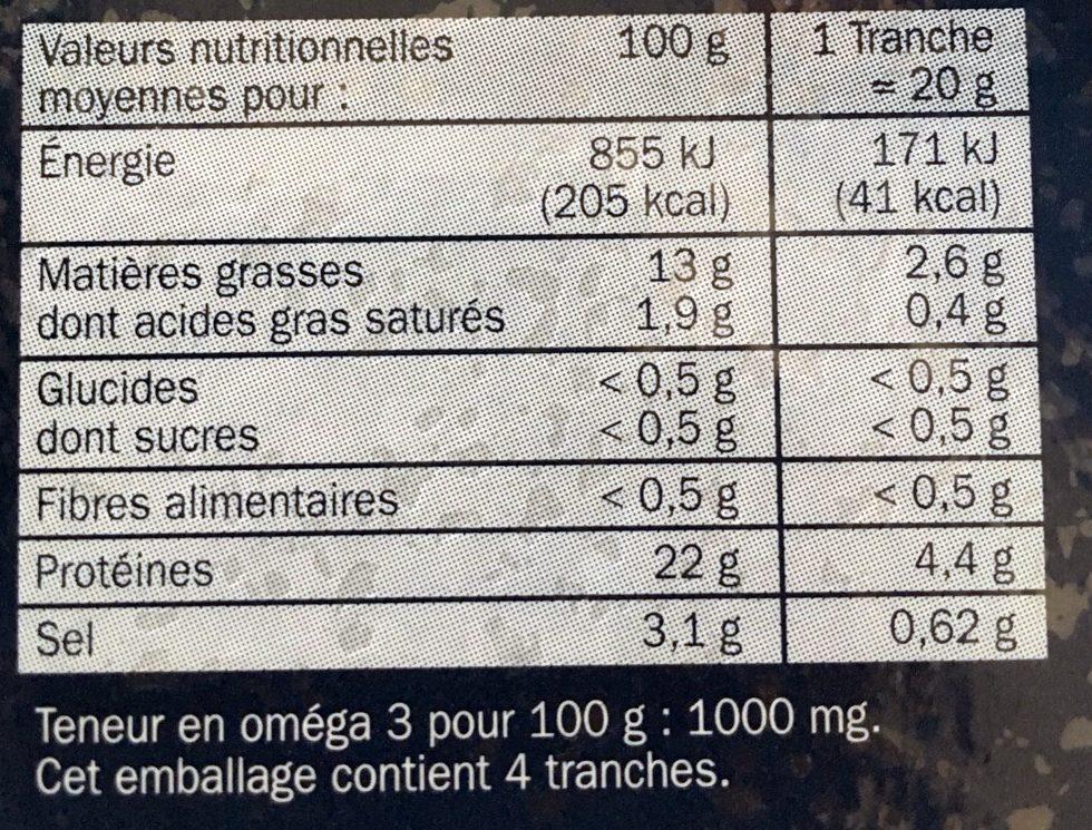 Saumon Fumé pour Toasts Citron et Aneth - Informations nutritionnelles - fr