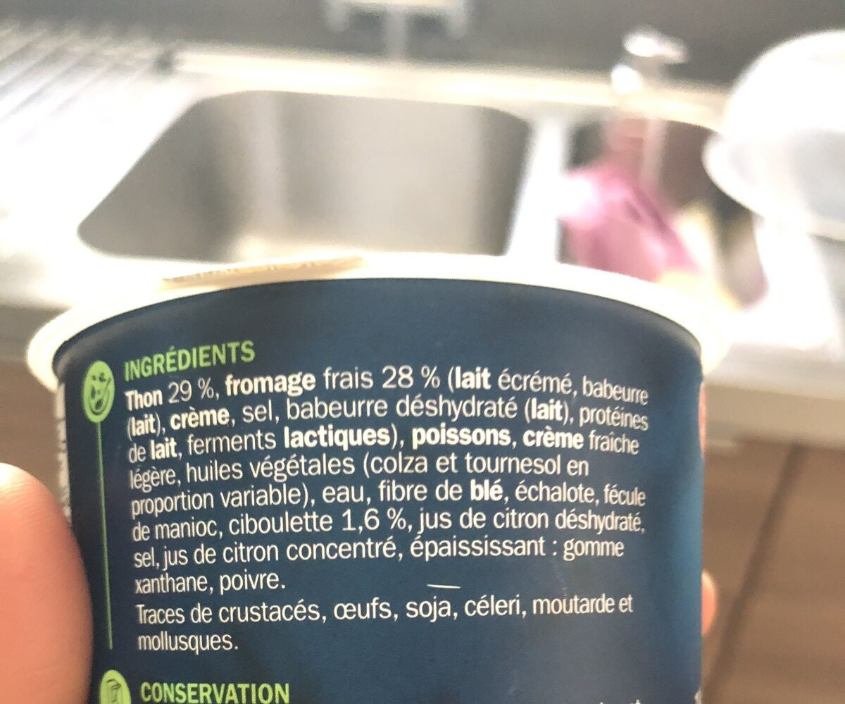 Tartinable de thon fromage frais ciboulette - Ingrediënten - fr
