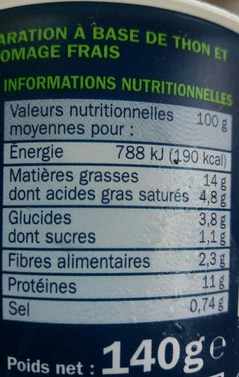 Tartinable de thon fromage frais ciboulette - Informations nutritionnelles - fr