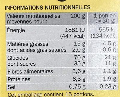 Céréales cacao fourrées vanille - Voedingswaarden - fr